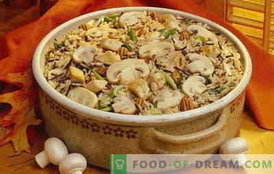 Pilau con funghi - un tripudio di aromi! Cottura friabile pilaf con funghi: magro, con carne, pollo, grano saraceno, uvetta