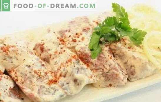 Kebab marinato in maionese - sarà sicuramente succoso! Come sottaceto shashlik in maionese con cipolle, ketchup, limone, orientale