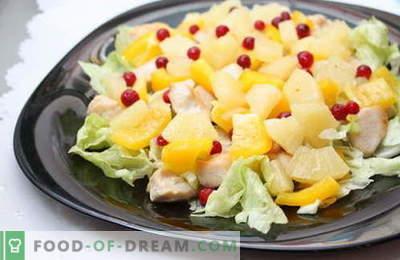 Le insalate con ananas e pollo sono le migliori ricette. Come correttamente e gustoso per preparare un'insalata con pollo e ananas.
