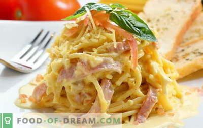 Carbonara met spek en room is een geweldig idee voor een stevig diner. Recepten carbonara met spek en room van Italiaanse fijnproever