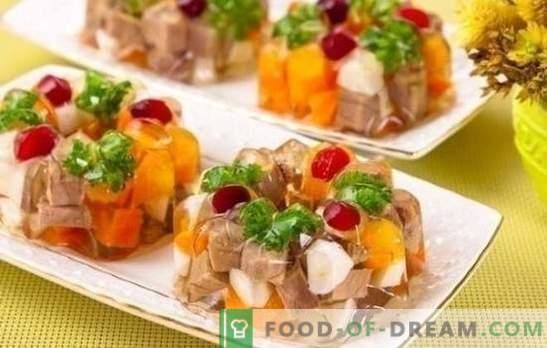 Manzo in gelatina - spuntino freddo e tenero per la festa di tutti i giorni e festosa. Il modo migliore per cucinare la carne di manzo in gelatina