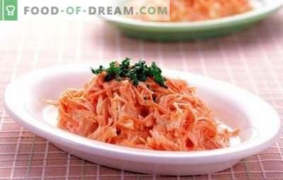 Insalata di carote con aglio: una decorazione luminosa e utile per la tavola. Cosa posso riempire di carote con aglio?