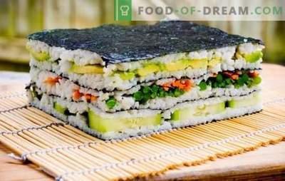 Torta di sushi: luminosa ed elegante! Cottura torta sushi con pesce rosso, gamberetti, bastoncini di granchio, caviale
