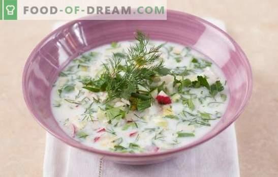 Okroshka su kefir con acqua minerale - la regina delle zuppe fredde! Una selezione di Okroshka differenti su kefir con acqua minerale, ricette e sottigliezze