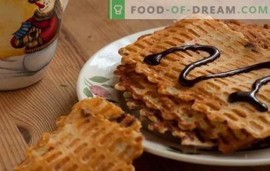 waffle sottili - snack croccanti! Ricette di diversi waffles sottili su burro, latte, panna acida, kefir, con miele e versione magra