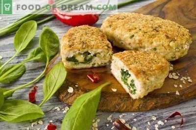 Galettes de poulet avec épinards et fromage