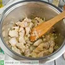 Solyanka with potatoes and pearl barley