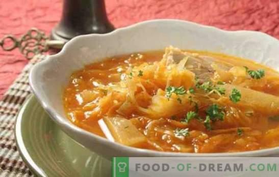 Zuppa a base di crauti in un fornello lento con carne di manzo, maiale e tacchino. Come cucinare la zuppa di crauti in una pentola a cottura lenta