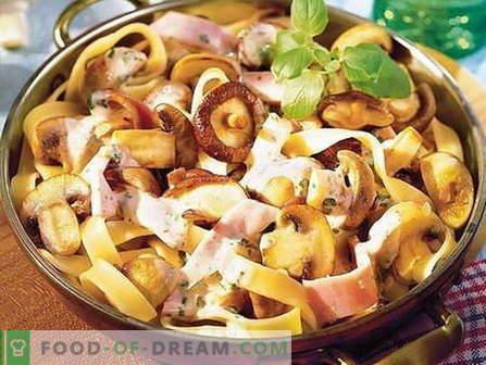 Pasta con funghi - le migliori ricette. Come cucinare correttamente e gustoso la pasta con i funghi.