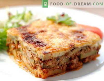 Moussaka: le migliori ricette. Come cucinare correttamente e gustoso Moussaka.