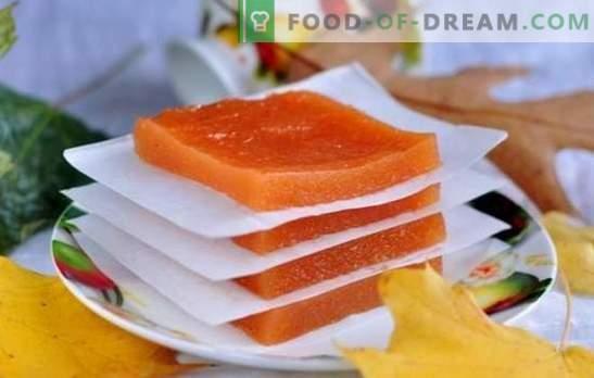 Pompoenpastille - een nuttige oosterse zoetheid. Hoe pompoen pastille te koken thuis in de oven of in de droger