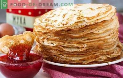 We treat ourselves to sweet pancakes with milk according to grandma's recipes. Cooking stuffed and just like that: thin sweet pancakes with milk