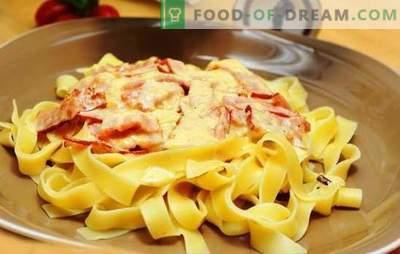 Pasta Carbonara mit Schinken und Sahne: Tradition auf neue Art! Wie man Pasta Carbonara mit Schinken, Sahne, Parmesan, Pilzen