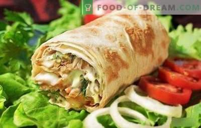 Shawarma con pollo in pane pita: cucina di fast food fatto in casa passo dopo passo! Selezione delle migliori ricette di pollo shawarma (passo dopo passo e in dettaglio)
