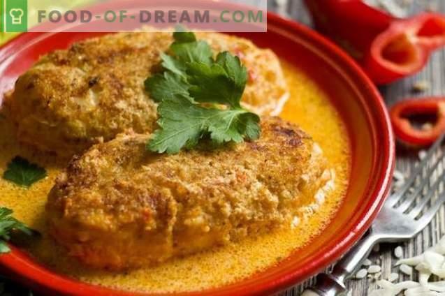 Rolurile de varză leneș în cuptor cu orez și pui în sos de roșii