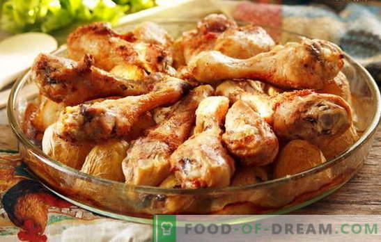 Cosce di pollo con patate al forno - ricette preferite. Cucinando le cosce di pollo con le patate al forno in modi diversi
