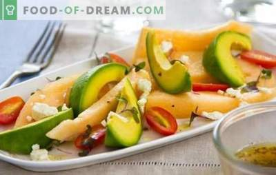Insalata con melone - questa è una delizia! Cucinare insalate fragranti e insolite con melone e pollo, formaggio, frutta, noci, avocado, prosciutto