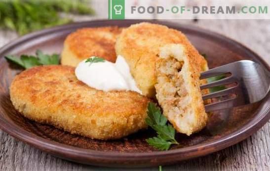 Patate Zrazy con carne - capolavoro della nonna! Cottura deliziosa patata zrazy con carne in padella, al forno, al vapore