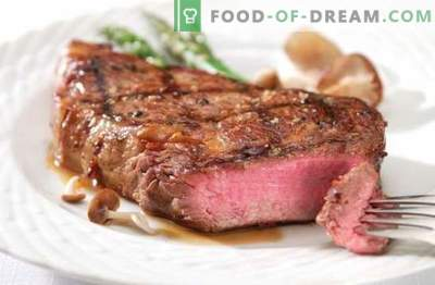 Grilled beef - meat with blush! Grilled beef steaks with vegetables, onion, honey, garlic and mayonnaise marinade