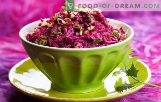 Insalate di barbabietola con maionese: non utile? Ricette per insalate di barbabietole con maionese e uova, pesce, funghi, fagioli, noci, fegato