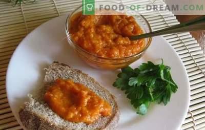 Ricetta di caviale di zucca con pomodori per l'inverno Caviale di zucca con pomodori per l'inverno: al forno, aerogrill, pentola a cottura lenta
