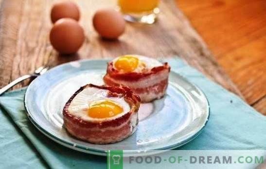 Uova fritte con pancetta - il miglior ospite della cucina casalinga. La sorpresa è difficile, è facile da nutrire: fantasia nei piatti di bacon e uova