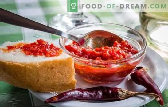 O molho Satsabel é uma adição aromática. Variantes de molho satsabel de uvas, ameixas de cereja, ameixas, com pasta de tomate, amido, nozes