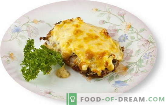 La carne con champiñones y queso en el horno es una excelente adición al acompañamiento. Las mejores recetas para cocinar carne con champiñones y queso en el horno.