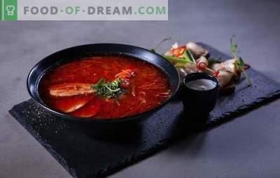 Borsch rosso: ricette passo dopo passo per la cena più brillante. Cottura di carne e borscht rosso vegetariano per ricette passo-passo