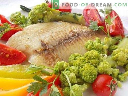 Filetto di branzino fritto con verdure