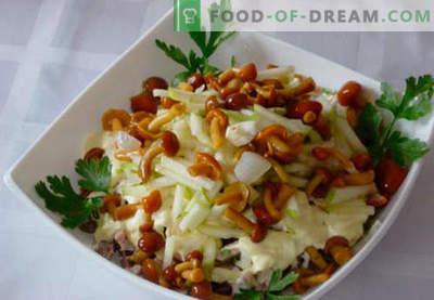 Salade met gepekelde champignons - vijf beste recepten. Hoe goed en smakelijk een salade bereiden met gepekelde champignons.