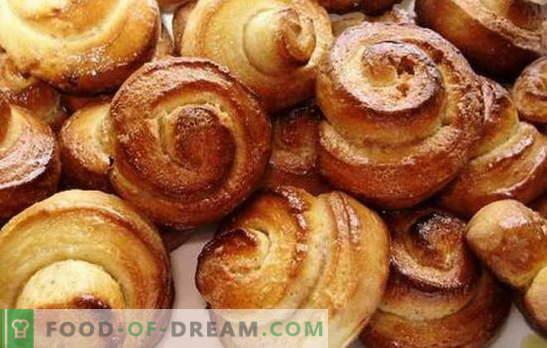 Panini caldi - aiutano sempre! Ricette i panini veloci in fretta con zucchero, cannella, fiocchi di latte, semi di papavero