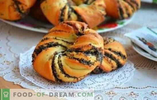 Muffins con semi di papavero dalla pasta lievitata - cottura fatta in casa, che si ottiene da tutti! Le sottigliezze della cottura dei panini al lievito con il papavero
