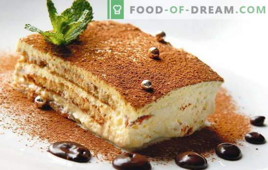 Torta con mascarpone e frutta, bacche, cioccolato, liquore. Ricette biscotto, pasta frolla, torta di pancake con mascarpone
