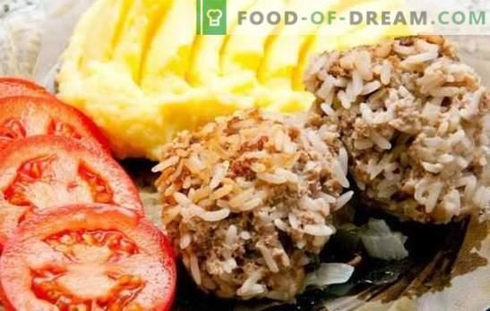 Ricci di carne macinata con riso in forno - polpette tenere! Opzioni per ricci di varie carni macinate con riso in forno e salse per loro
