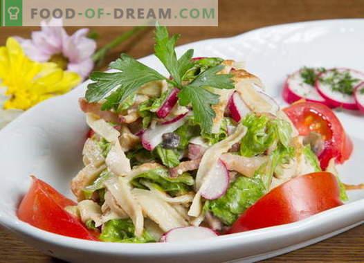 Insalata di frittelle - una selezione delle migliori ricette. Come cucinare correttamente e gustosa insalata di pancake.