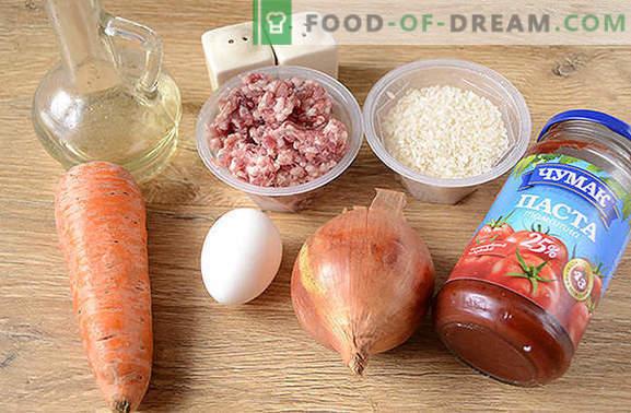 Polpette con riso in salsa: i bambini amano, gli adulti amano! Autore passo dopo passo ricetta foto di polpette di carne con riso in una pentola a cottura lenta