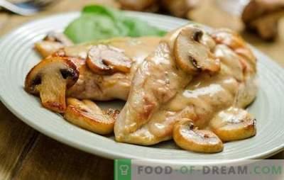 Petto di funghi: una combinazione classica. Ricette di petto di pollo con funghi e ... panna acida, ananas, formaggio, pasta