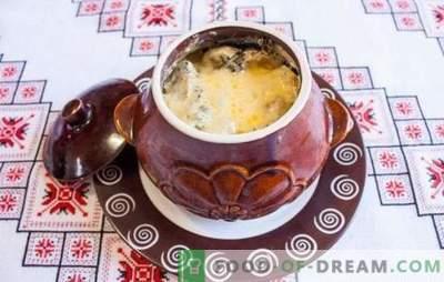 Arrosto in pentole con funghi - prepariamo un piatto gustoso e fragrante. Arrosto in pentole con funghi e carne in forno