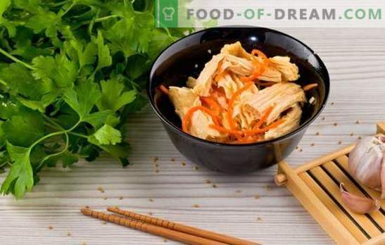 Asparagi di soia - ricette per antipasti e piatti caldi. Ricette dagli asparagi di soia per tutti i giorni: con riso, frunchoza, pollo, funghi