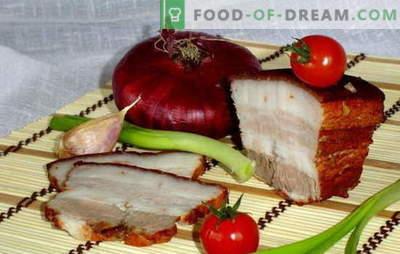 Lardo nella buccia di cipolla - salatura veloce! Segreti e ricette di cottura di pancetta in buccia di cipolla con aglio, adzhika, senape, fumo liquido
