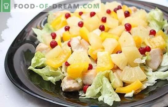 Insalata con ananas e prosciutto: per una vacanza con un tocco esotico. Ricette combinazioni armoniose in un'insalata con ananas e prosciutto
