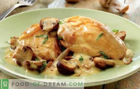 Il tenero pollo in salsa di panna è delizioso! Ricette semplici e collaudate di pollo in salsa di panna acida con funghi, aglio, prugne
