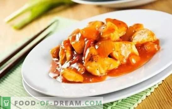 Пилешко во кинески сос - едноставно и ориентално. Готвење егзотични јадења од пилешко во кинески сос дома