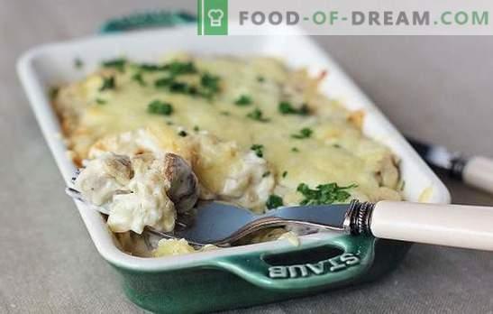 Patate fritte, al forno o stufate con funghi in crema acida: nessuno è indifferente! Semplici ricette di patate con funghi in panna acida