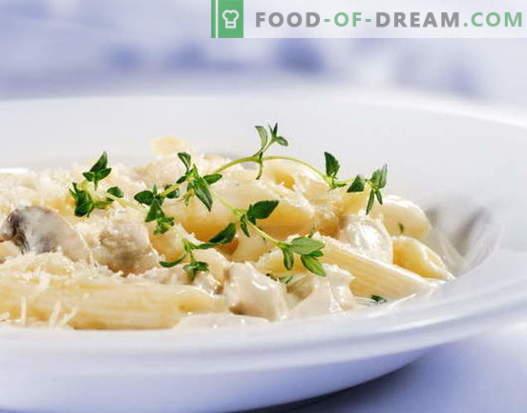 La pasta di pollo in salsa di panna è la migliore ricetta. Come cucinare bene e gustoso pasta con pollo in salsa cremosa.