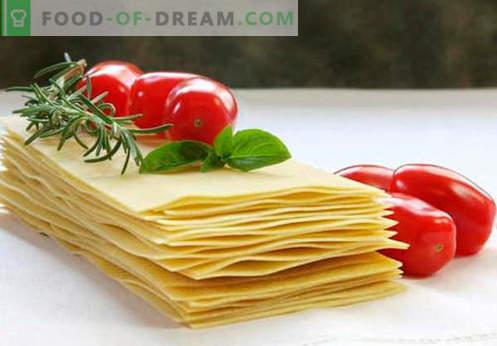 Pasta lasagna - le ricette giuste. Come cucinare velocemente e gustoso l'impasto per lasagne.