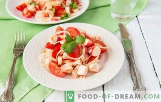 Insalata di granchio con pomodori - vera bellezza nella semplicità! Le 10 migliori ricette provate per l'insalata di granchio con pomodori