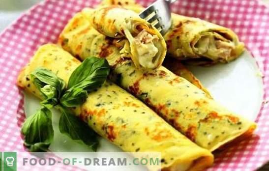 Pancakes con formaggio, verdure, prosciutto, pollo con latte e kefir. Ricette popolari per cucinare frittelle con formaggio