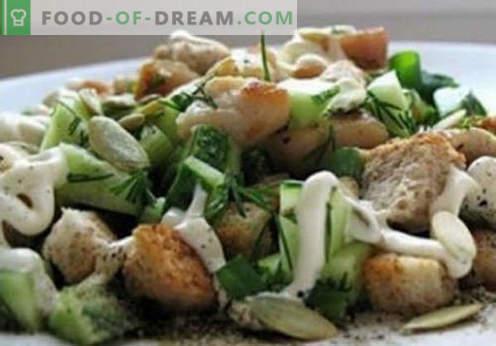 Insalata con kirieshkami - ricette collaudate. Come insalata cotta correttamente e gustosa con kirieshkami.